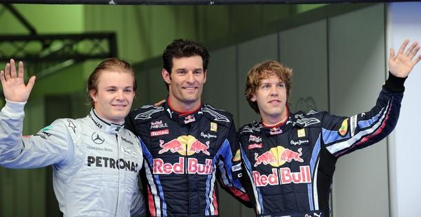 Mark Webber, Nico Rosberg y Sebastian Vettel, los tres primeros en la calificación del GP de Malasia 2010