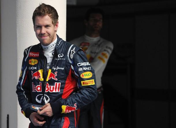 Sebastian Vettel tras lograr la pole-position en la calificación del GP de Baréin 2012