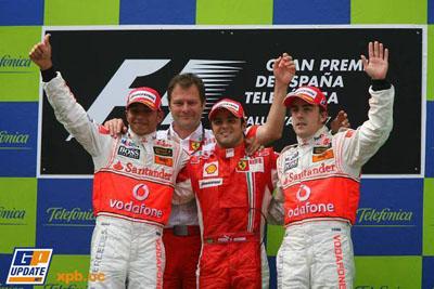 Podio de la carrera de Montmelo 2007: Hamilton, Massa y Alonso.