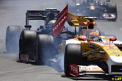 Piquet aun sin Kers recibió potencia extra gracias al empujón que le dio Buemi