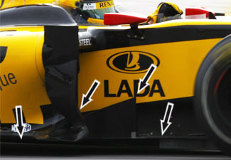 Detalles del Renault R30 en el GP de Malasia 2010