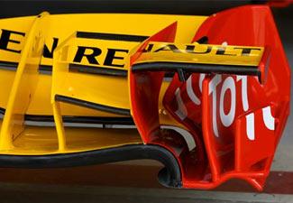Alerón delantero del Renault R30 en el GP de Turquía 2010