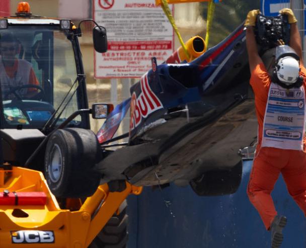 Vista inferior del difusor del Red Bull accidentado de Mark Webber