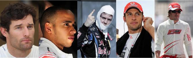 Webber, Vettel, Hamilton, Button y Alonso