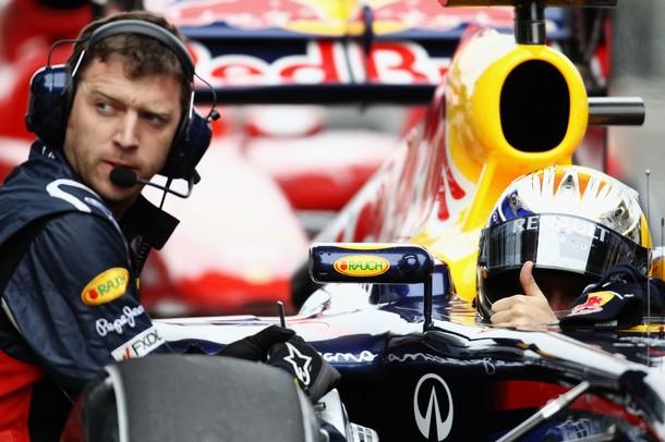 Sebastian Vettel tras lograr la pole-position en el GP de China 2011