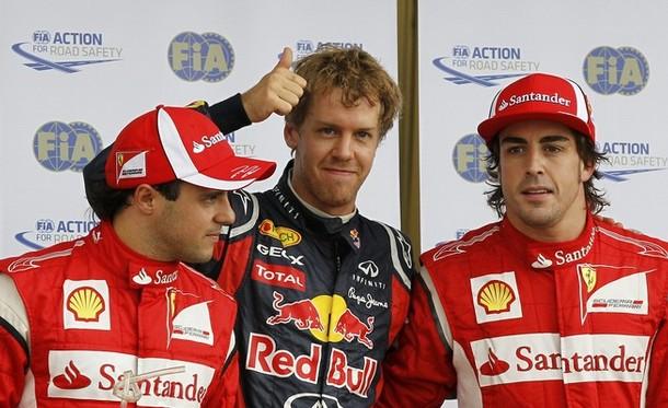 Felipe Massa, Sebastian Vettel y Fernando Alonso tras la calificación del GP de Canadá 2011