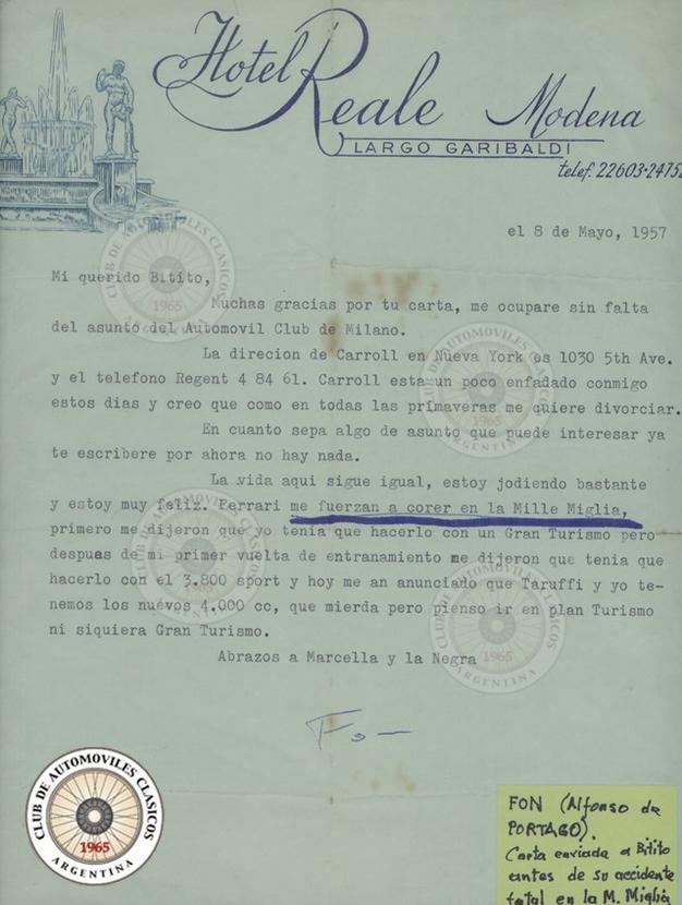 Carta personal de Portago