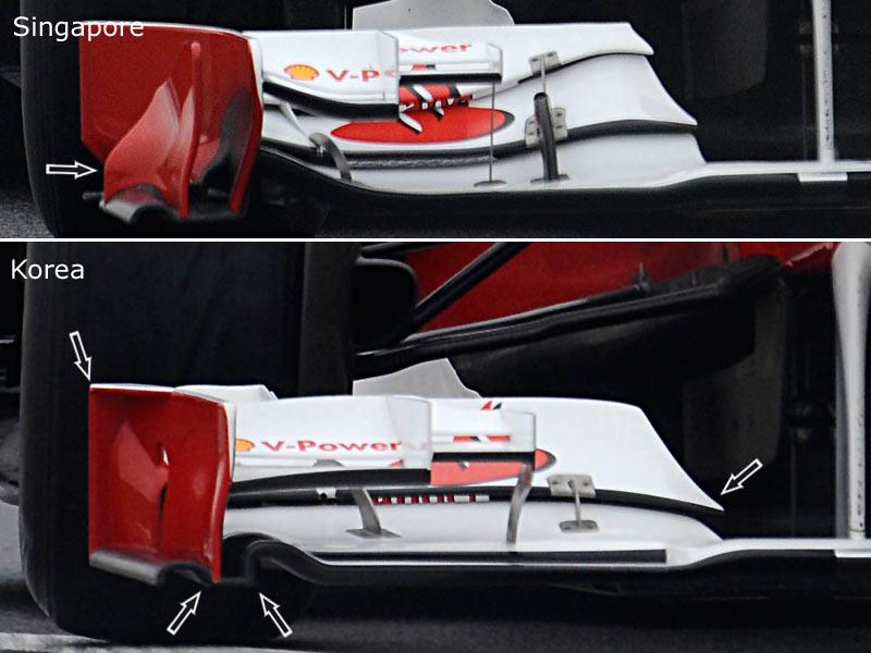 Comparativa de los alerones del Ferrari 150º Italia en Singapur y Corea 2011