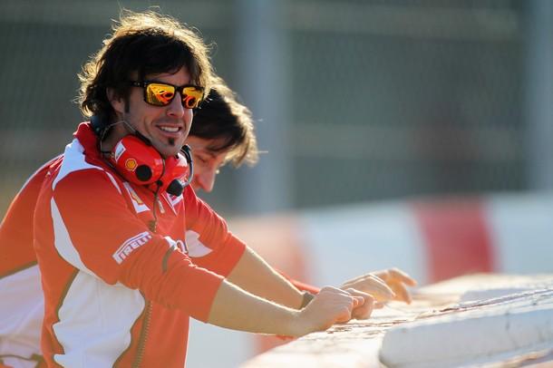 Fernando Alonso en los tests de pretemporada 2012 en Motmeló