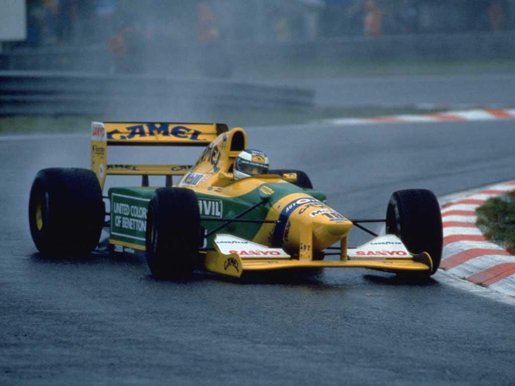 Michael Schumacher con el Benetton en Bélgica 1992