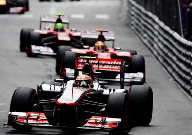 Hamilton, Alonso y Massa. GP Mónaco 2012
