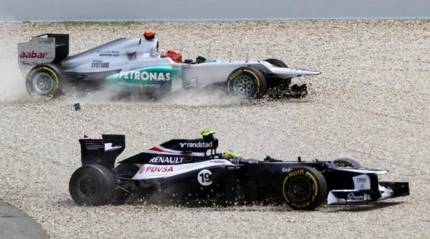 Incidente Schumacher y Senna. GP España 2012