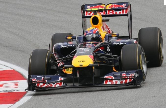 Mark Webber durante el GP de Malasia 2011 con el Red Bull