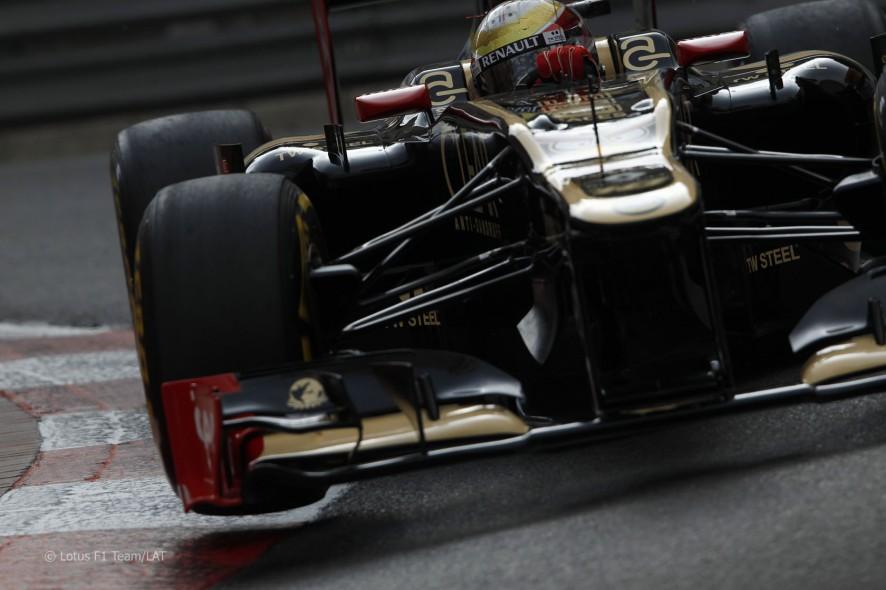 Romain Grosjean en los entrenamientos del GP de Mónaco 2012