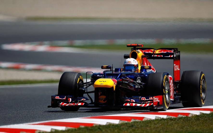 Sebastian Vettel durante los entrenamientos del GP de España 2012