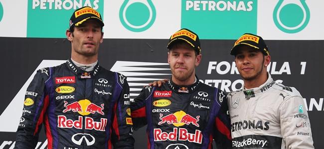 Vettel, Webber, Hamilton, Podio GP Malasia 2013