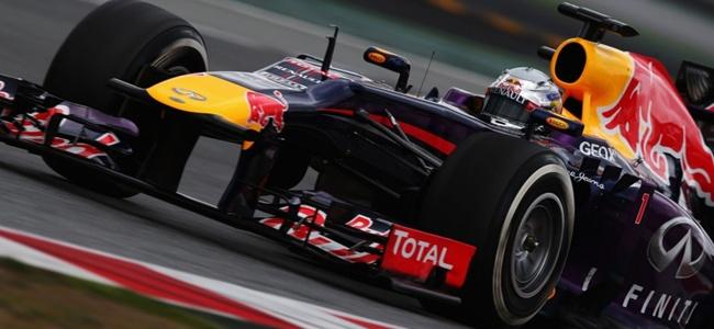 Sebastian Vettel durante los tests de pretemporada 2013 en Montmeló