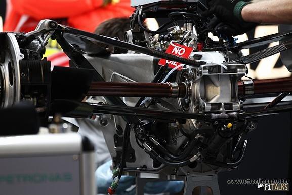 Suspensión interconectada del Mercedes W02