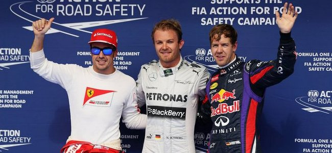 Fernando Alonso, Nico Rosberg, Sebastian Vettel, GP Barein 2013