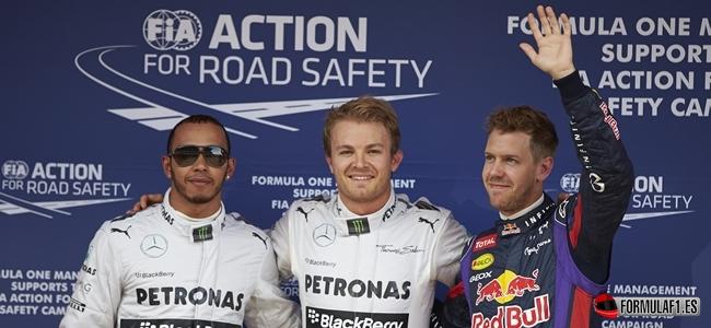 Rosberg, Hamilton, Vettel, Calificación España 2013