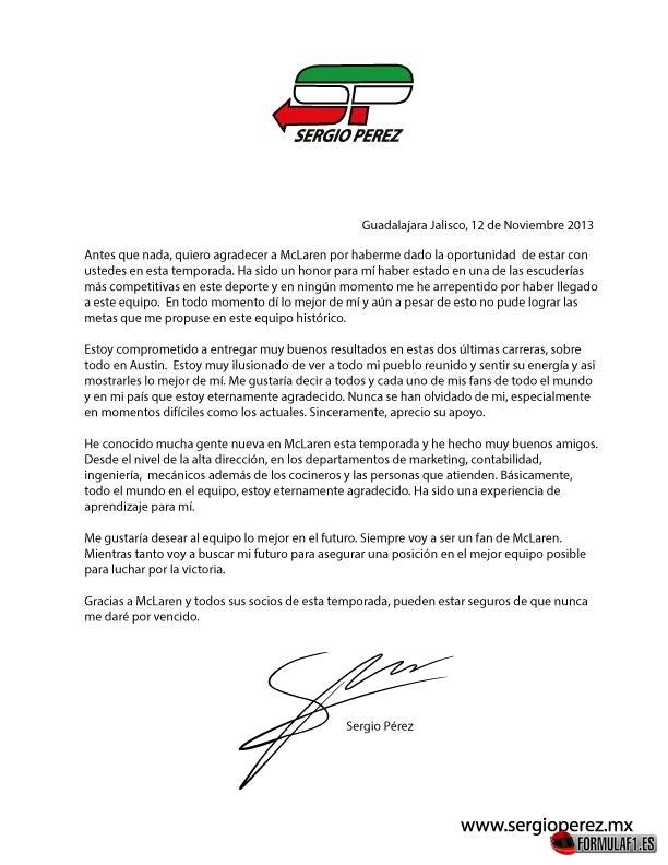 Sergio Pérez, Farewell McLaren 2013