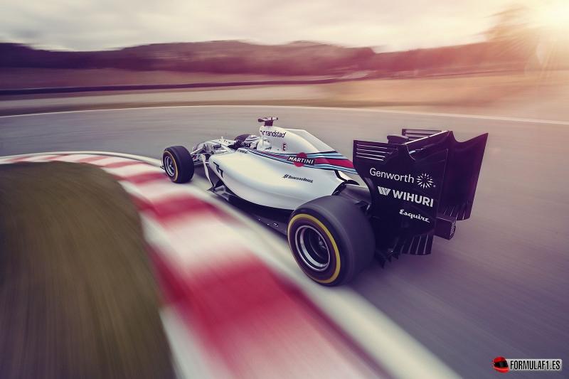 Williams muestra su coche decorado con los colores de Martini
