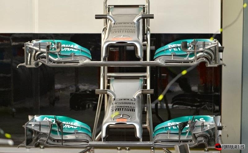 Alerón delantero del Mercedes W05 en Australia 2014