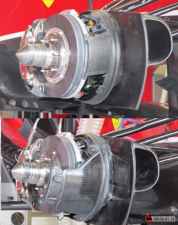 Frenos delanteros del Ferrari F14T en Silverstone 2014