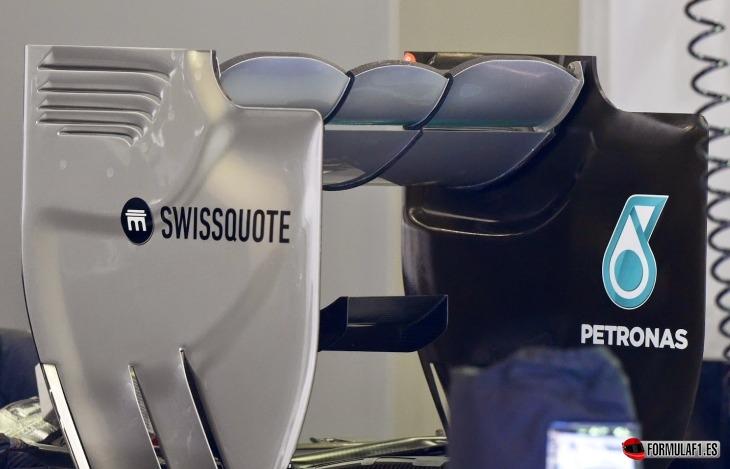 Alerón trasero del Mercedes W05 en Spa 2014