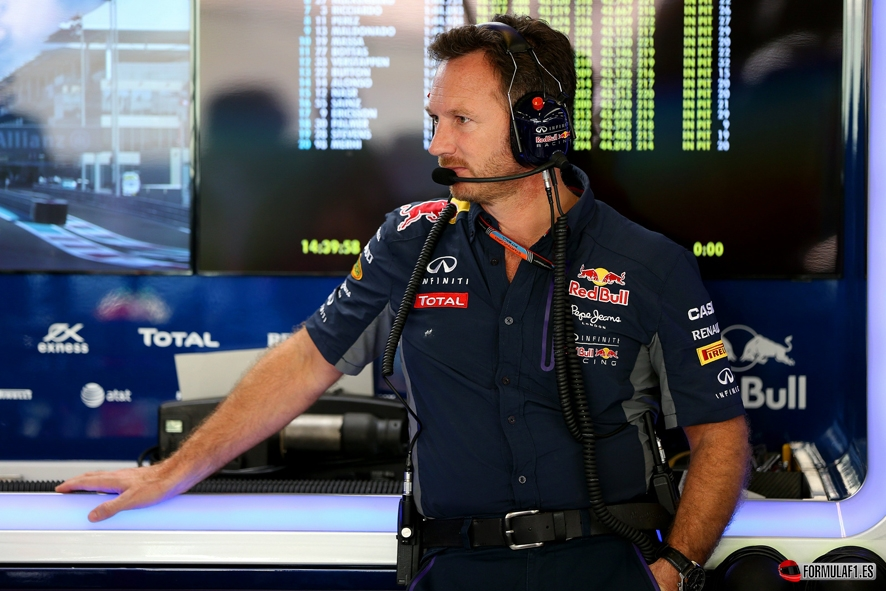 ABU DHABI, UNITED ARAB EMIRATES - NOVEMBER 27: Infiniti Red Bull Racing Team Principal Christian Horner looks on in the garage during practice for the Abu Dhabi Formula One Grand Prix at Yas Marina Circuit on November 27, 2015 in Abu Dhabi, United Arab Emirates. (Photo by Mark Thompson/Getty Images) // Getty Images/Red Bull Content Pool // P-20151127-00350 // Usage for editorial use only // Please go to www.redbullcontentpool.com for further information. //