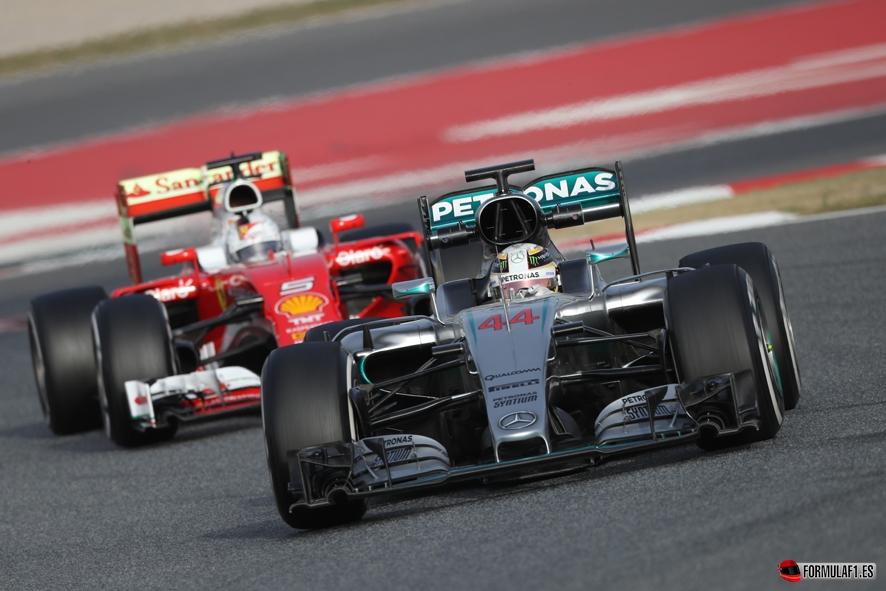 Hamilton y Vettel en Montmeló
