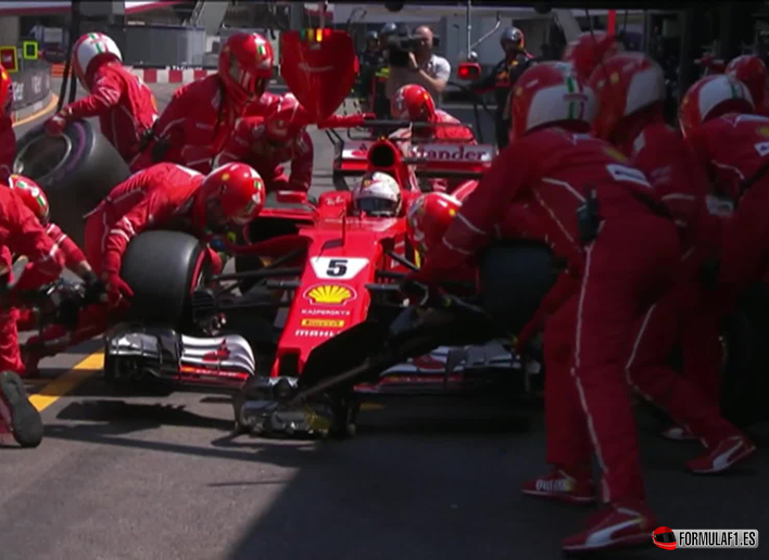 Pit stop Ferrari. GP de Mónaco 2017