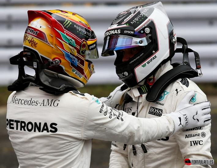 Bottas y Hamilton. Calificación GP de Japón 2017