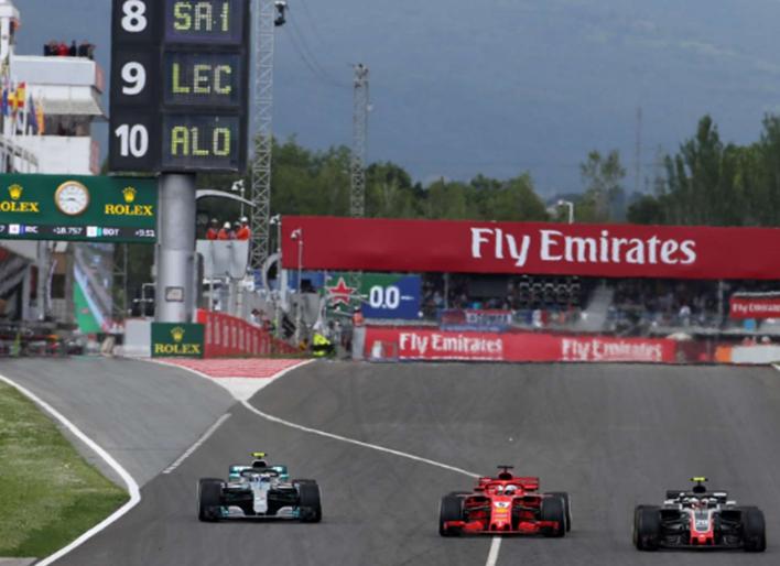 Salida de boxes de Bottas. GP España 2018