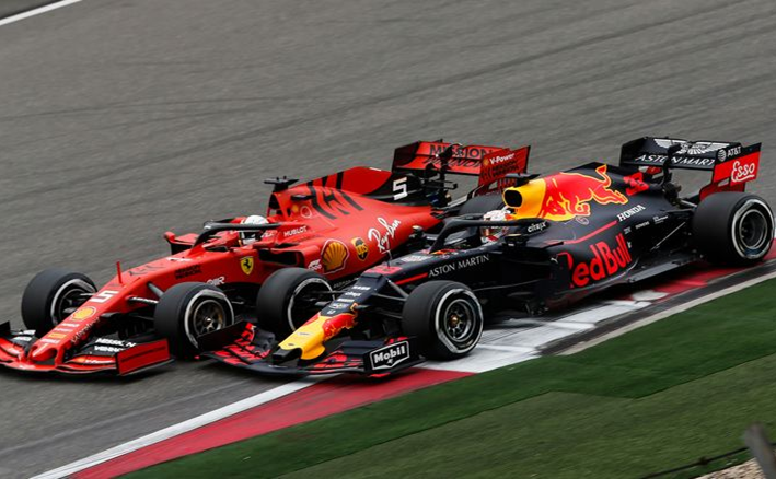 Vettel y Verstappen. GP China 2019