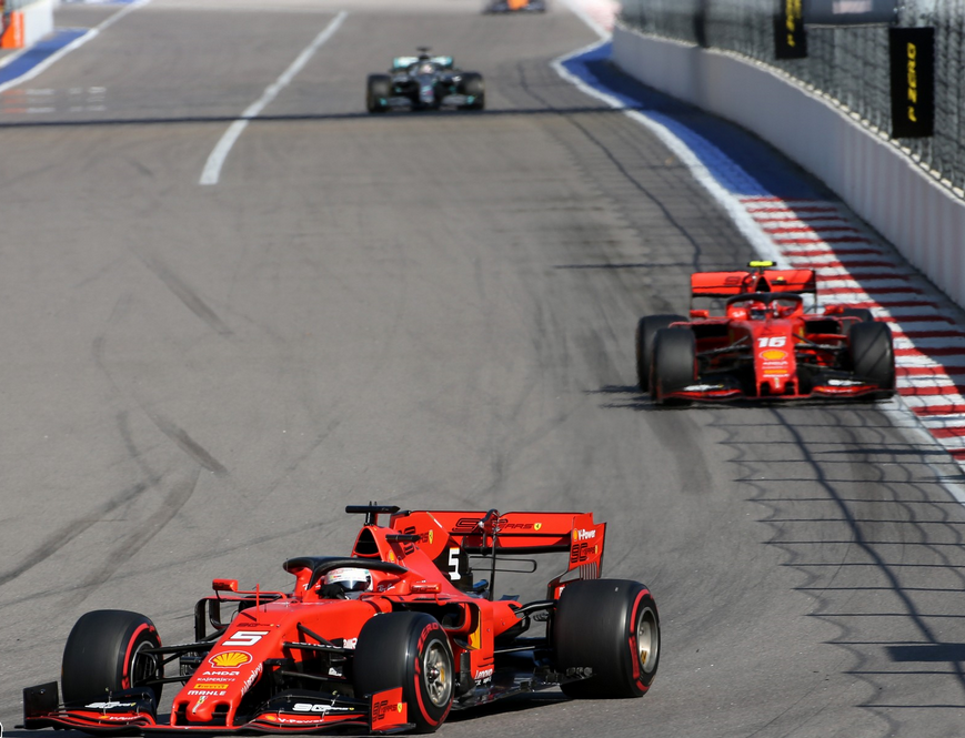 Vettel, Leclerc y Hamilton. GP Rusia 2019