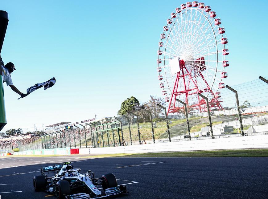Bottas cruza la meta. GP Japón 2019