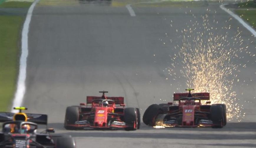 Los Ferrari chocan. GP Brasil 2019